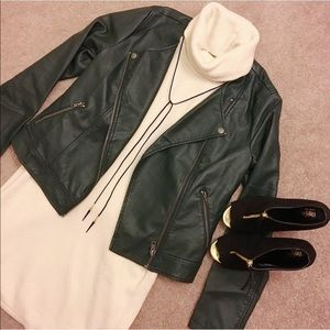 Jackets & Blazers - Green leather jacket